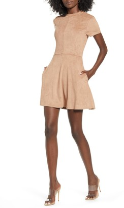 Speechless Faux Suede Fit & Flare Dress