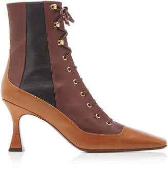 Atelier Manu Duck Color-Block Leather Ankle Boots Size: 36