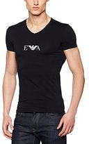 Emporio Armani Men's Stretch Cotton Eagle Logo V-Neck T-Shirt