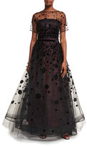 Carolina Herrera Polka-Dot Embroidered Tulle Ball Gown