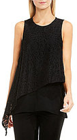 Vince Camuto Sleeveless Asymmetrical Lace Overlay