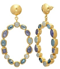 Gurhan 24K/18K Yellow Gold Mixed Stone Drop Hoop Earrings