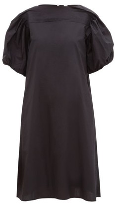 Merlette New York Aster Puffed-sleeve Cotton-poplin Dress - Womens - Black