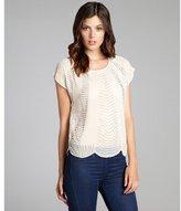 Romeo & Juliet Couture ivory chiffon bead embellished short sleeve blouse