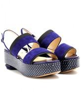 Nicholas Kirkwood Snakeskin-trimmed suede platform sandals