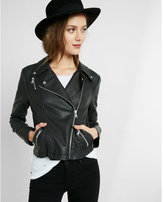 Express Minus the) leather fitted moto jacket