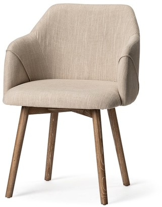 Mercana Home Ronald II Cream Fabric Wrap Brown Wooden Base Dining Chair