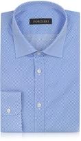 Forzieri Light Blue and White Polkadot Cotton Slim Fit Shirt