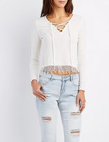 Charlotte Russe Crochet-Trim Lace-Up Tee