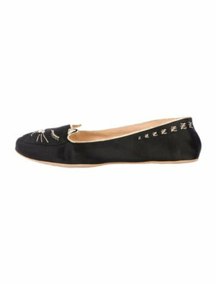 Charlotte Olympia Kitty Slippers Embroidered Accent Loafers Black