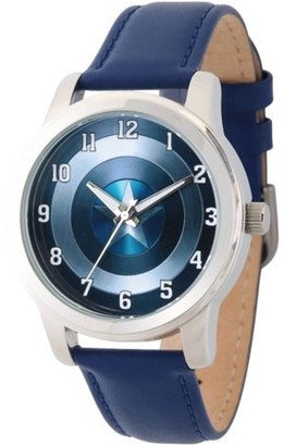 Marvel Avengers: 75th Anniversary Shields Men's Silver Alloy Watch, Blue Leather Strap