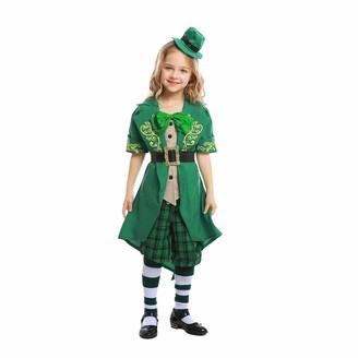 ICNGLKSND 4/5 Pcs Easters Day Family Matching Cosplay Suit Set Parent-Child Outfit (Green Girls 4-6 T)