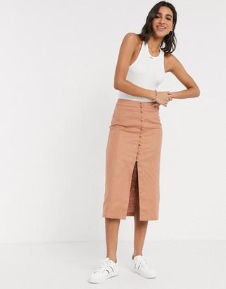 Splendid Asos Design ASOS DESIGN linen button through midi skirt