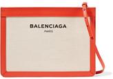 Balenciaga Leather-trimmed Canvas Shoulder Bag - Beige