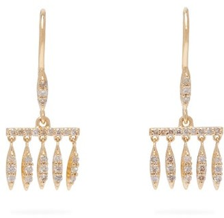 Ileana Makri Grass Dewdrops Diamond & 18kt Gold Earrings - Womens - Yellow Gold