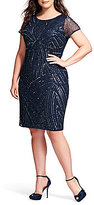 Adrianna Papell Plus Beaded Short Sleeve Sheath Dress