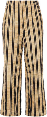 Gentryportofino Striped Crinkled Cotton-blend Twill Wide-leg Pants