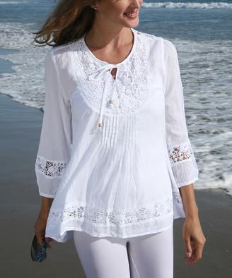 Ananda's Collection Women's Tunics white - White Semisheer Crochet Tie-Front Peasant Tunic - Women