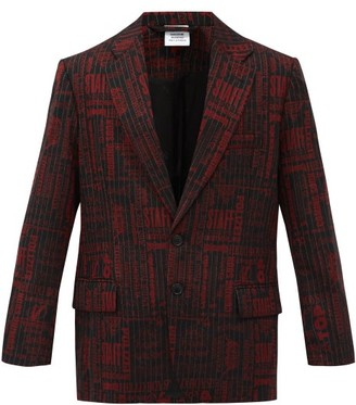 Vetements Logo-jacquard Wool-blend Blazer - Red