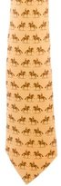 Hermes Riding Horse Print Silk Tie