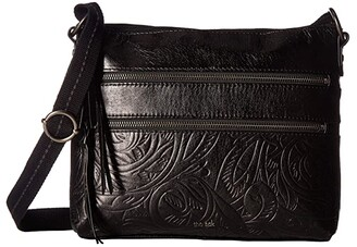 The Sak Reseda Leather Crossbody (Black Leaf) Cross Body Handbags