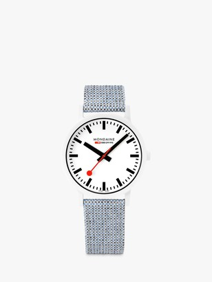 Mondaine MS1.41110.LD Unisex Essence Fabric Strap Watch, Blue Multi/White