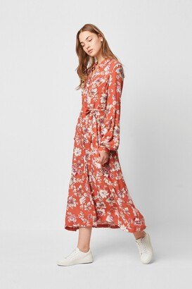 French Connection Aletta Crepe Floral Midi Shirt Dress