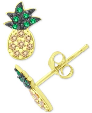 Giani Bernini Cubic Zirconia Pineapple Stud Earrings in 18k Gold-Plated Sterling Silver, Created for Macy's