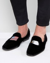 Asos Loafers in Black Velvet With Flag and Eagle Embroidery