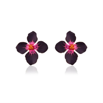 Milou Jewelry Matte Purple and Fuchsia Clover Flower Earrings