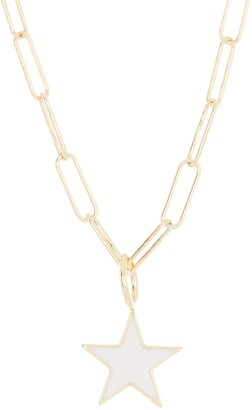 Silver Mama 14K Gold Plated Sterling Silver White Enamel Star Pendant & Paperclip Chain Necklace