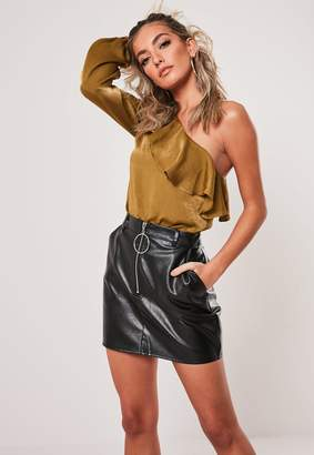 Missguided Gold One Shoulder Ruffle Blouse
