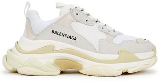 Balenciaga Triple S White Mesh And Leather Sneakers