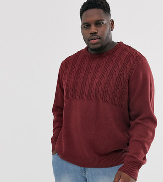 Another Influence Plus half cable sweater in burgundy