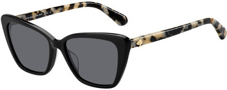 Kate Spade Lucca Acetate Cat-Eye Sunglasses, Black