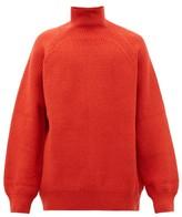 Raey Funnel-neck Wool-blend Sweater - Mens - Dark Orange