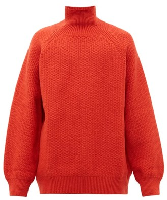 Raey Funnel-neck Wool-blend Sweater - Dark Orange