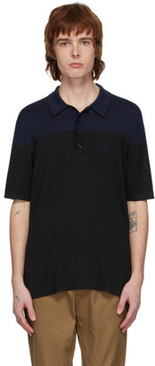 Burberry Black and Navy Silk Cashmere Brayton Polo