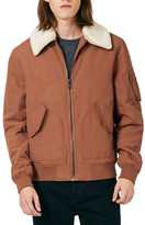 Topman Derby Flight Jacket with Detachable Faux Fur Collar