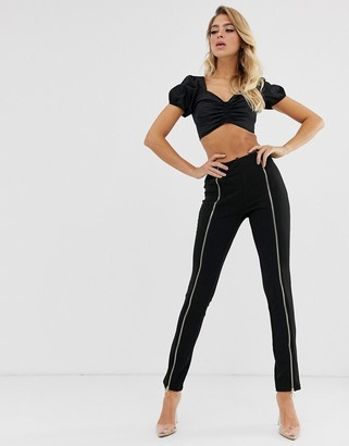 In The Style zip front trousers-Black