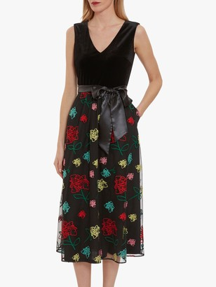 Gina Bacconi Galiliea Floral Embroidery Midi Dress, Black/Multi
