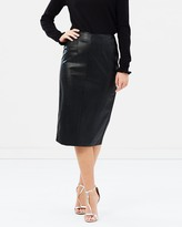 Oasis Faux Leather Piped Pencil Skirt