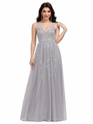 Ever Pretty Ever-Pretty Women's Sleeveless V Neck with Applique Long A Line Bridesmaid Dresses Grey 10UK