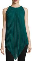 Max Studio Sleeveless Pleated Chiffon Tunic, Emerald