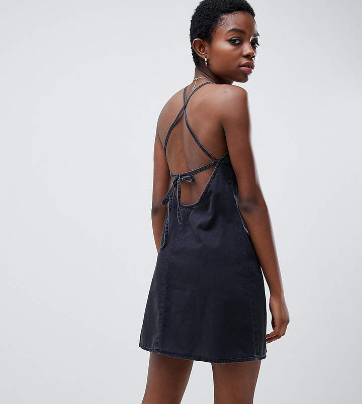 Asos DESIGN Petite denim slip dress with low back in washed black