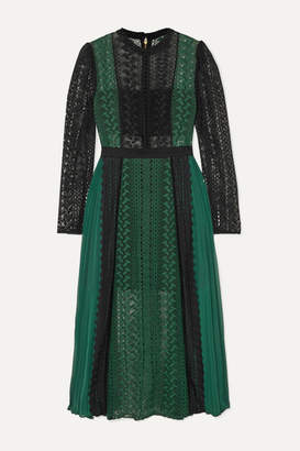 Self-Portrait Two-tone Guipure Lace And Pleated Chiffon Midi Dress - Forest green