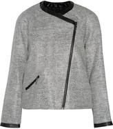 Karl Lagerfeld Isa faux leather-trimmed raffia jacket
