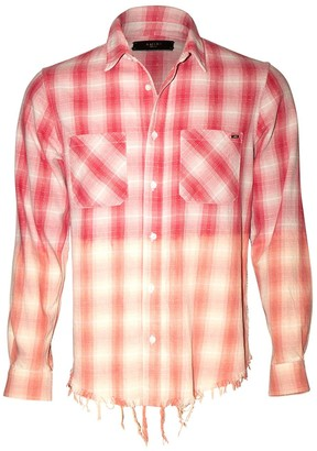Amiri Distressed Ombre Plaid Button-down Red