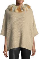 Adrienne Landau Waffle-Knit Fur-Trim Cocoon Sweater