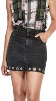 GUESS Women's Denim Grommet Skirt